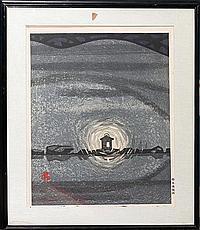 "HASHIMOTO OKIIE [JAPANESE, 1899-1993], WOODBLOCK, 1960, 21"" X 16 1/2"""