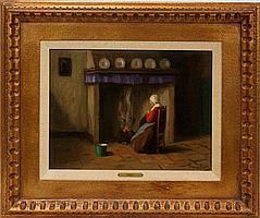 "FRANS DE HAAS [DUTCH B. 1934], OIL ON CANVAS, DUTCH WOMAN BY FIRE, 12"" X 16"""