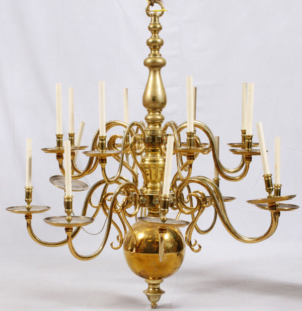 Antique English Brass Great Room Chandelier