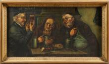 JOSEF JUNGWIRTH OIL ON CANVAS MONKS