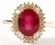 NATURAL OVAL 4.12CT RUBY DIAMOND & 14KT GOLD RING