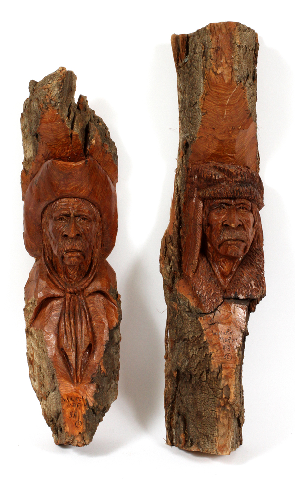 Willard morin hand carved wood buffalo soldiers two