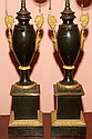 FRENCH EMPIRE TOLE & BRONZE-MOUNTED HYDROSTATIC LAMPS, C. 1815, PAIR, H 27