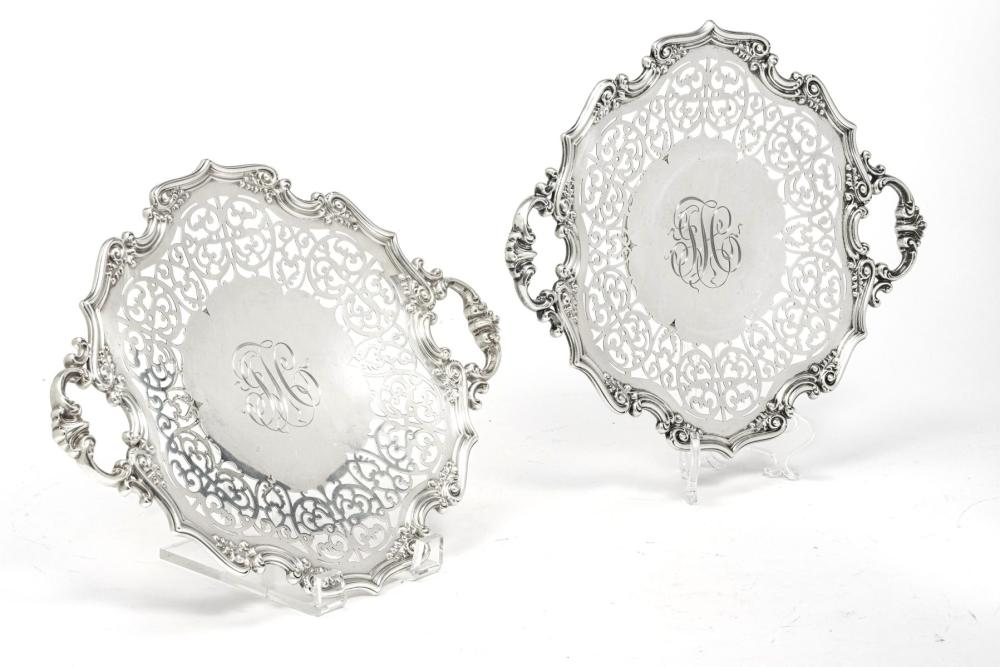 """GORHAM STERLING SILVER TRAYS C 1900 PAIR DIA 12"""" 27 T.O."""