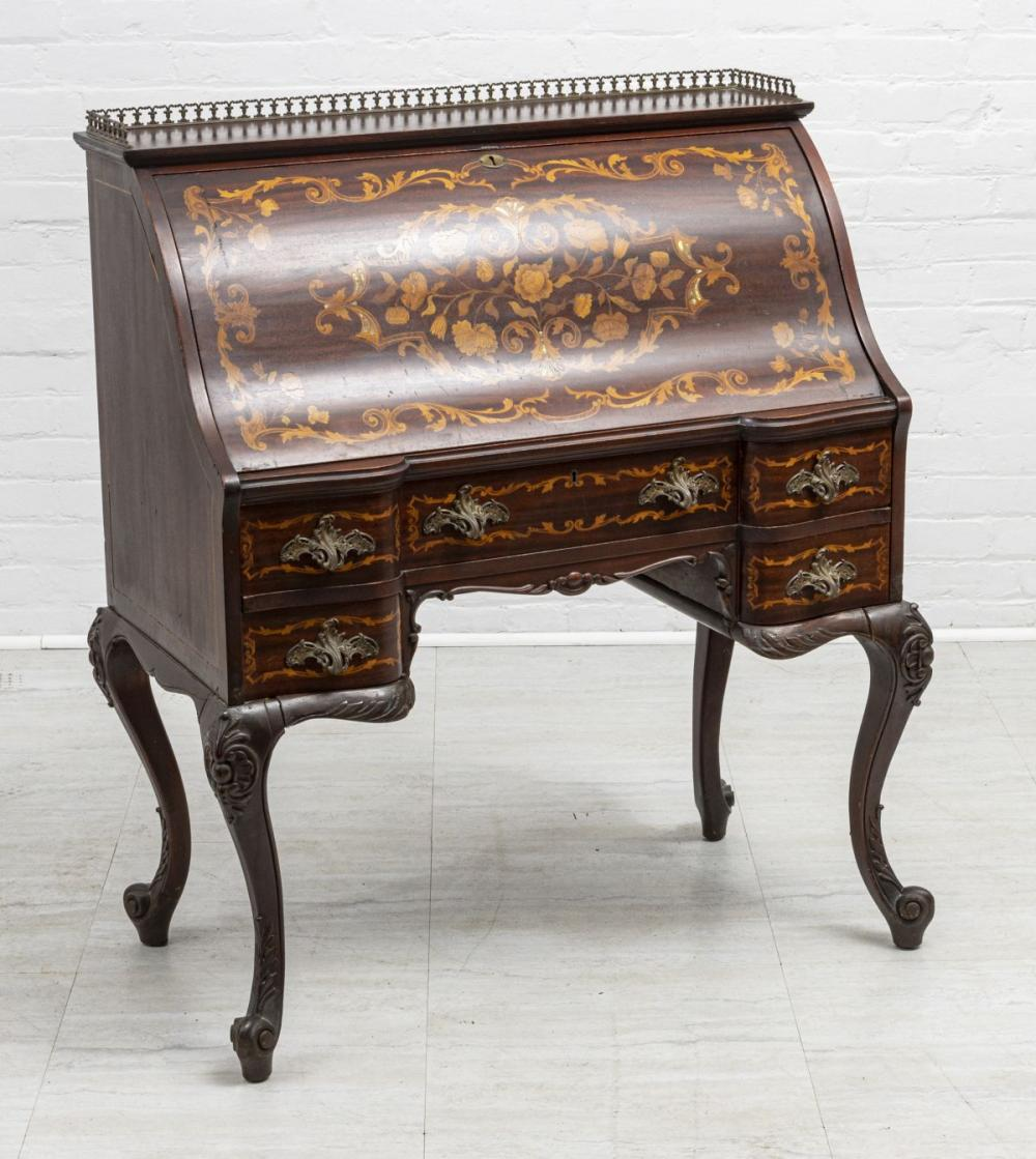 """MAHOGANY AND SATINWOOD MARQUETRY INLAID DROP FRONT DESK H 43"""" W 37"""" D 20"""""""