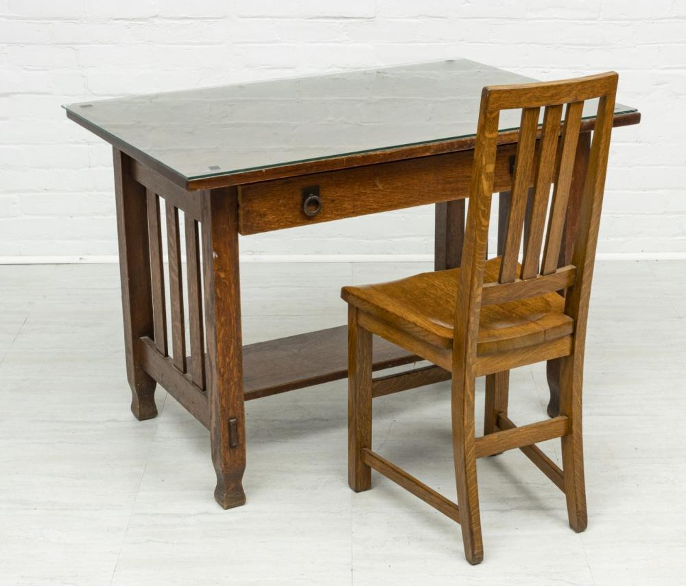 """STICKLEY CARVED OAK DESK AND CHAIR, H 29"""", W 42"""", D 27 3/4"""""""