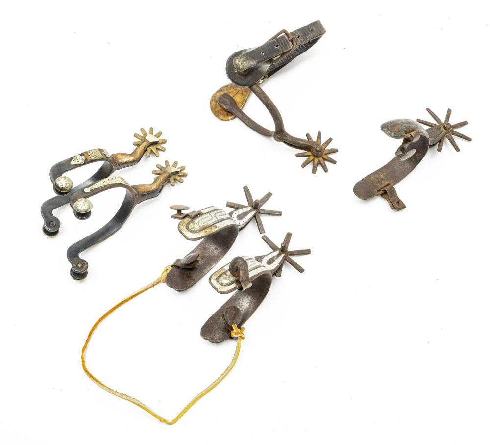 ANTIQUE WESTERN STYLE SPURS, EARLY 20TH C., SIX PIECES
