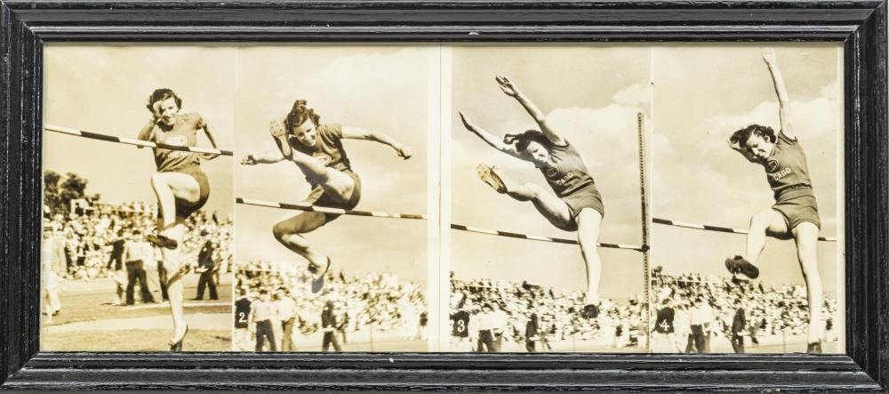 """FRAMED PRESS PHOTOGRAPHS H 8"""", W 20"""", ANNETTE ROGERS AT THE 1936 OLYMPIC TRIALS"""