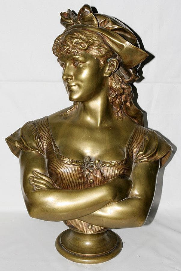 LEOPOLD HARZE [1831-1893], BRONZE BUST, 'DORIE',