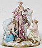 MEISSEN PORCELAIN FIGURAL GROUP, 'EUROPA & THE BULL', LATE 19TH C., H 8 1/2