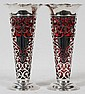 BLACK, STARR & FROST STERLING & RUBY GLASS VASES, PAIR, H 10