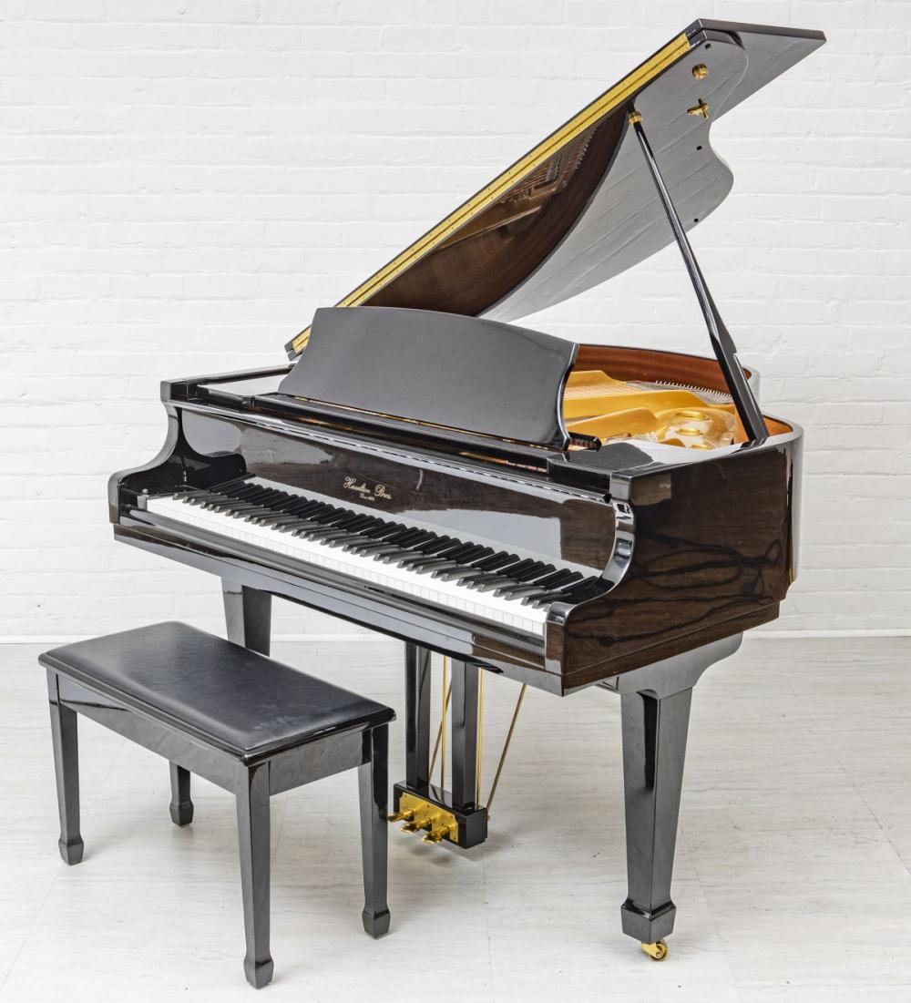 "HAZELTON BROTHERS EBONY BABY GRAND PIANO, H 39"", W 56"", L 57"""