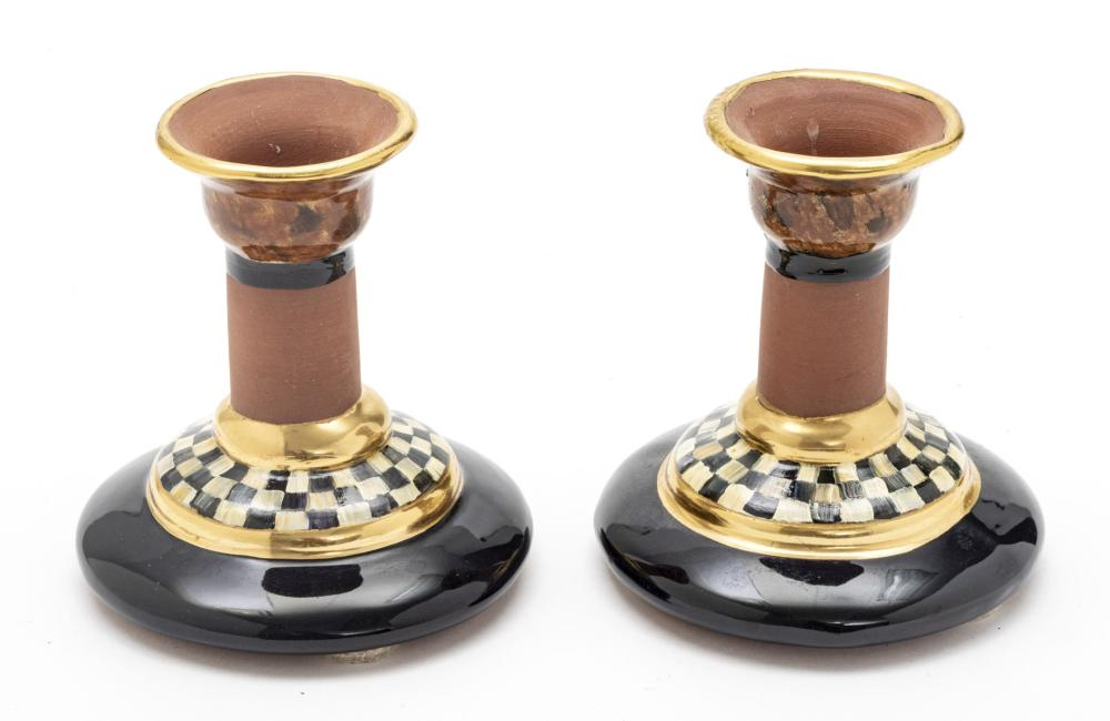 """MACKENZIE-CHILDS (AMERICAN) TERRACOTTA EARTHENWARE COURTLY CHECK CANDLESTICKS PAIR H 4.75"""" DIA 4.25"""""""