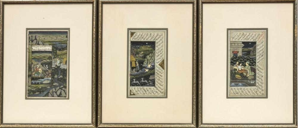 "GOUACHE & GOLD LEAF PERSIAN ILLUMINATED MANUSCRIPTS, 3, H 10"", W 5 1/2"""