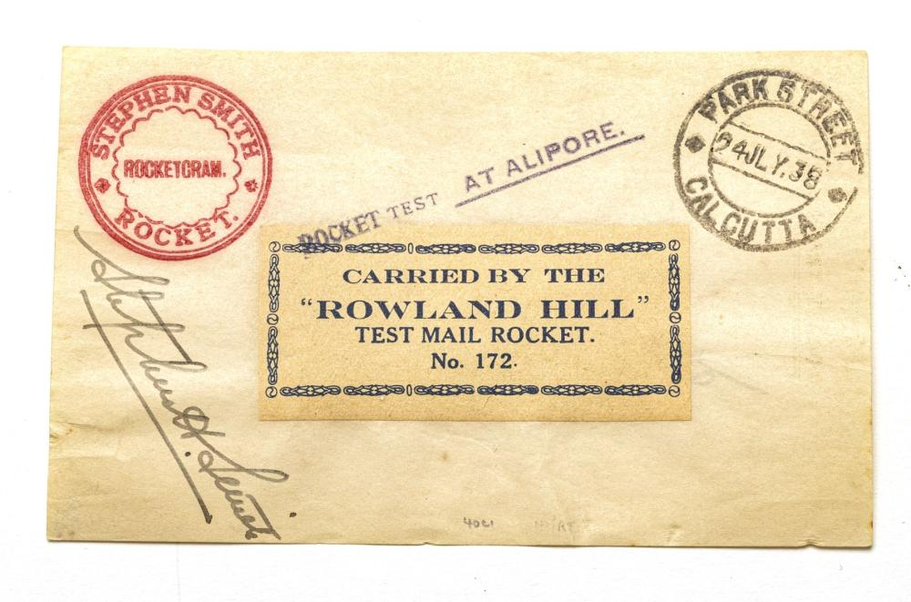"""AUTOGRAPHED BRIITISH/INDIA PIONEER SPACE PROBE ROWLAND-HILL TESTING SITE #172 ROCKET RESEARCH 1938 1ST.DAY MAIL-DELIVERY (1) H 12"""" W 9.5"""""""