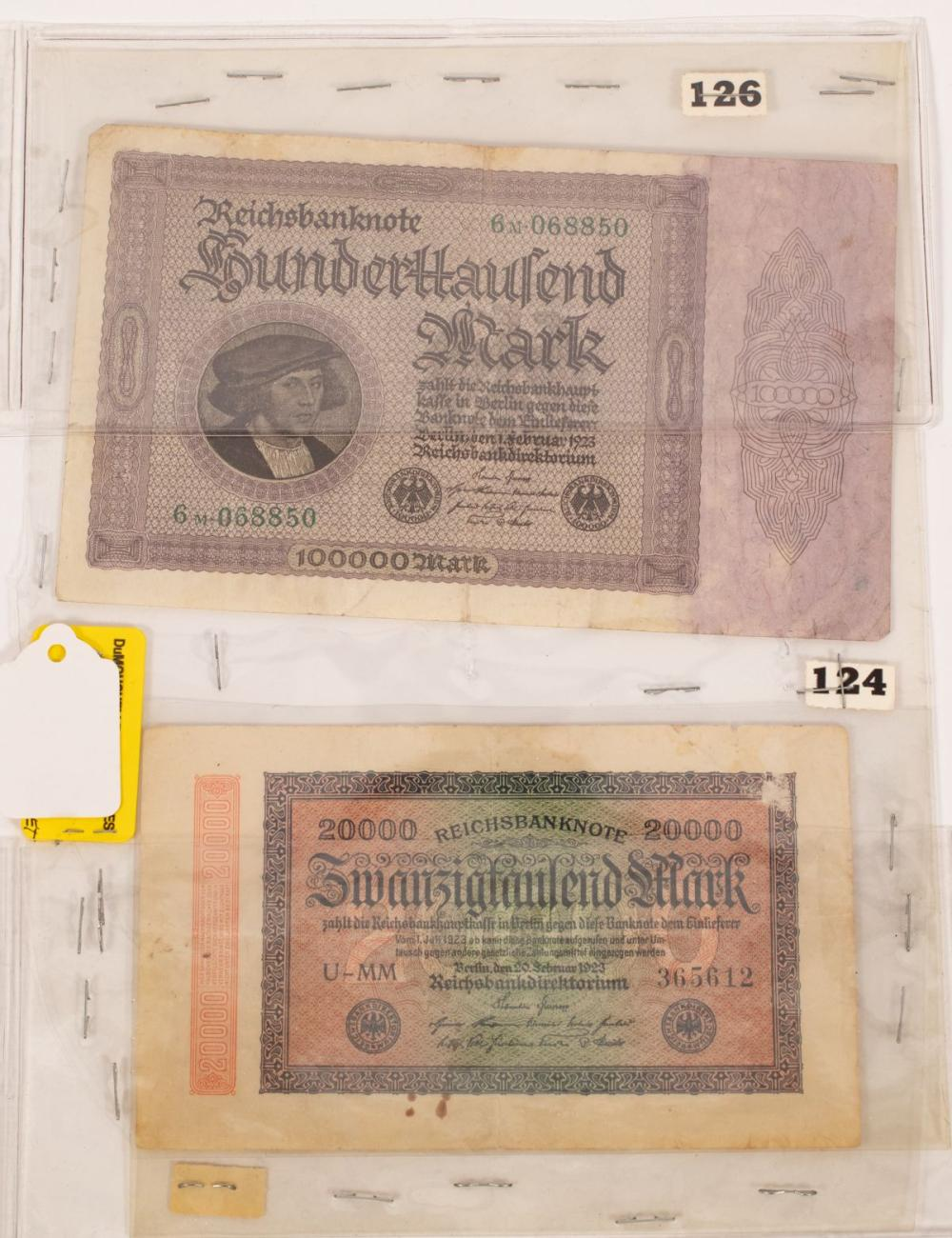 "GERMAN PAPER CURRENCY NOTES 20,000. MARK, #3365612 BERLIN 1923 & 100,000. MARK #6M068850 BERLIN 1923 (2) H 10"" W 8"" IMAGE"