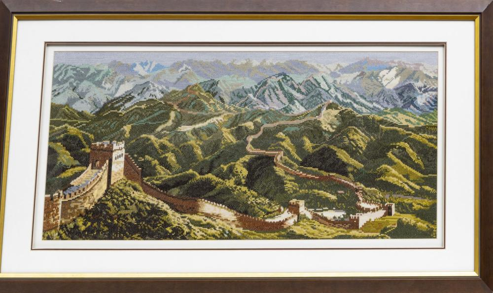 """GREAT WALL OF CHINA MAP, FRAMED H 15"""" W 36"""""""