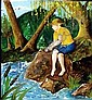 MICHAEL G. KOZMIUK, OIL ON ARTIST BOARD, 1969,  20in X 16in, BOY FISHING: Signed and dated lower  right and on verso; unframed.