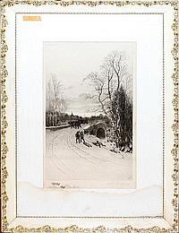 """CHARLES MIELATZ [1864-1919], ENGRAVING, 19 1/4"""" X 11 1/2"""""""