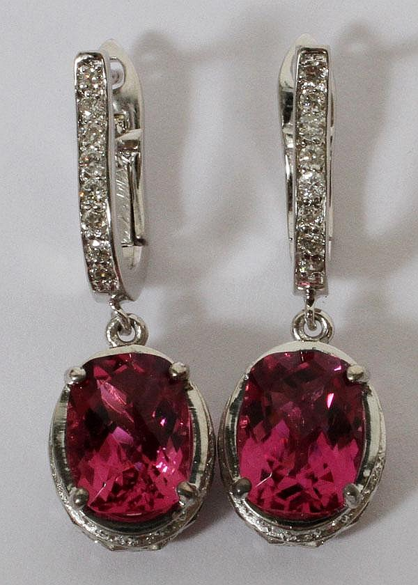 2.88CT NATURAL DEEP PINK TOURMALINE & 1.00CT DIAMOND EARRINGS, L 14/16