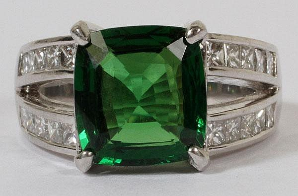 4.39CT NATURAL TSAVORITE & 1.80CT DIAMOND RING, 6 1/2, GIA