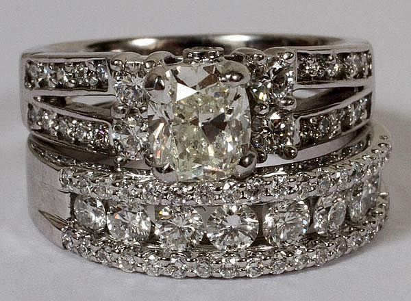 1.02CT DIAMOND RING & BAND SUITE, 6 1/4, GIA
