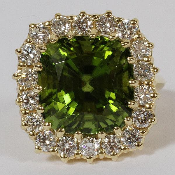 13.00CT NATURAL GREEN PERIDOT & 1.54CT DIAMOND RING, 6, GIA
