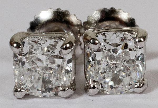 1.01CT & 1.00CT DIAMOND CUSHION STUD EARRINGS, GIA