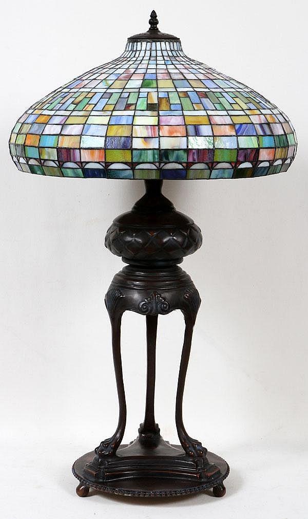BRONZE LEADED GLASS LAMP, MODERN, H 44