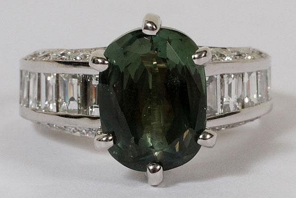 5.00CT NATURAL GREEN CHRYSOBERYL & 2.60CT DIAMOND RING, 7 1/4, GIA