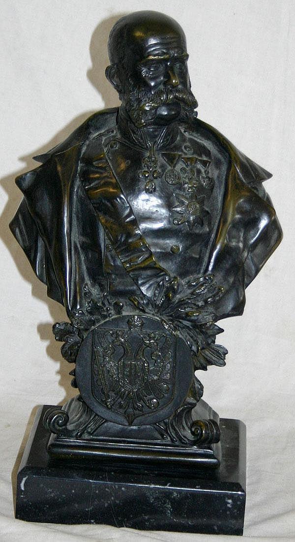 ROBERT WEIGL WIEN, BRONZE SCULPTURE, '98 EMPEROR FRANZ JOSEF