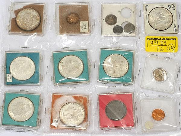U.S COINS,MORGAN 1878- SEATED LIBERTY DIME, INDIANHEAD CENT, UNCIR,LINCOLN&JEFFERSON;, 1866 -1968, 14