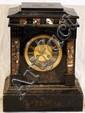BELGIAN BLACK MARBLE MANTLE CLOCK, H 14