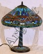 LEADED GLASS DRAGONFLY TABLE LAMP, MODERN, H 24