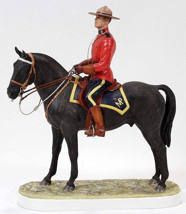 DORIS LINDNER FOR ROYAL WORCESTER, PORCELAIN FIGURE 'ROYAL CANADIAN MOUNTED POLICEMAN', H 11