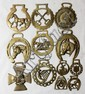 ANTIQUE HORSE BRASSES, TWELVE, W 1 1/2