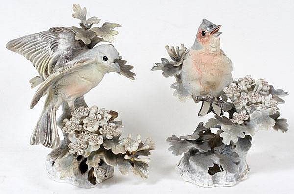 DOROTHY DOUGHTY FOR ROYAL WORCESTER, PORCELAIN CHAFFINCHES, TWO, H 7