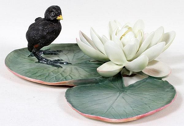 DOROTHY DOUGHTY FOR ROYAL WORCESTER, PORCELAIN MOORHEN CHICK & WATER LILY, H 12
