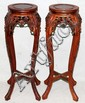 CHINESE TEAKWOOD PEDESTALS, PAIR, H 36