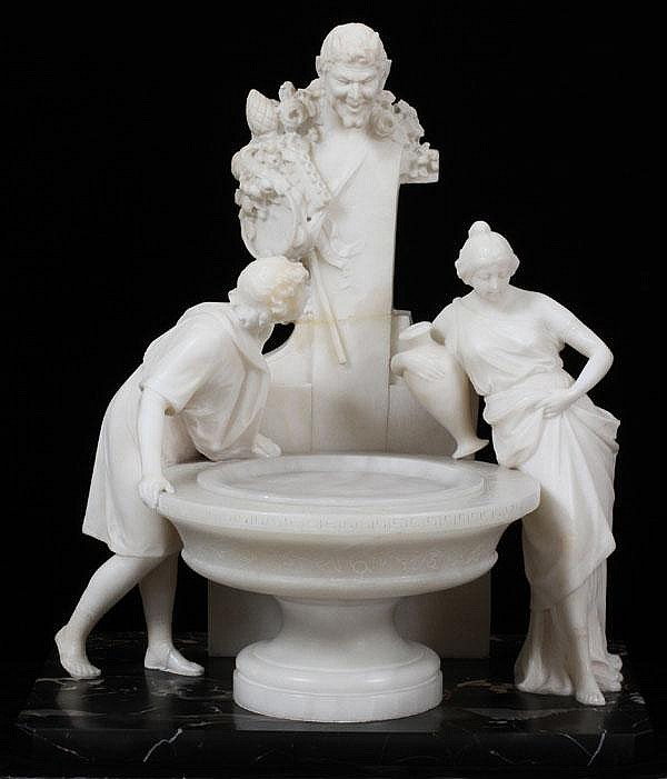 PROF. ARISTIDE PETRELLI, CARRERA MARBLE SCULPTURE OF FIGURES AT A FOUNTAIN, H 17