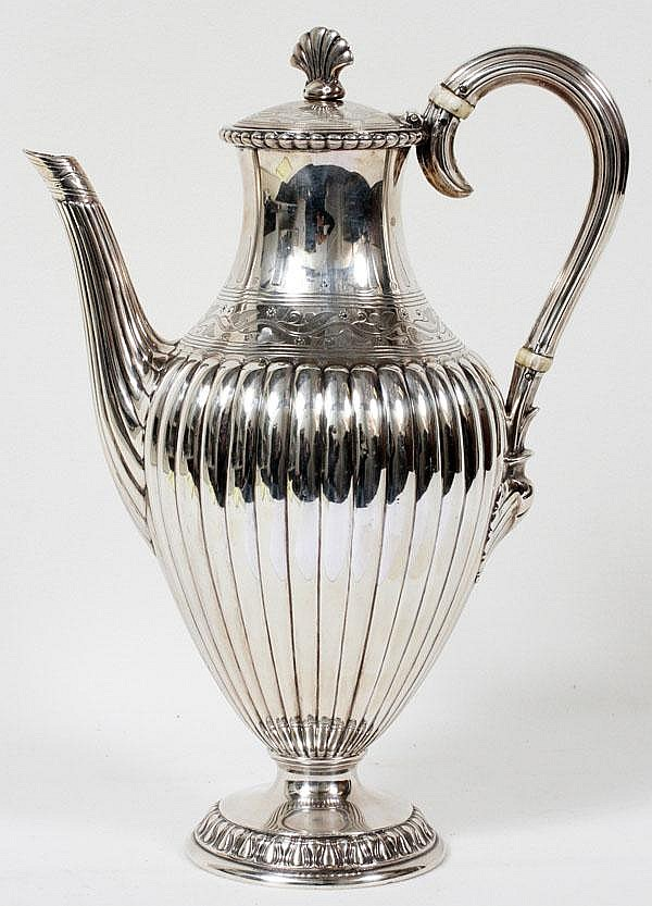 FREDERICK ELKINGTON STERLING COFFEE POT, 1879, BIRMINGHAM, H 11