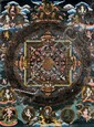 TIBETAN PAINTED MANDALA ON FABRIC, C. 1900, 26