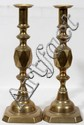 BRASS CANDLESTICKS, 19TH C., PAIR, H 14