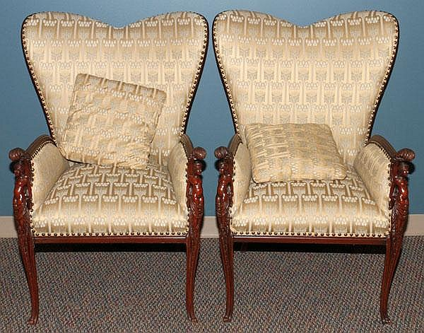ITALIAN CARVED MAHOGANY ARMCHAIRS, 20TH C., PAIR,