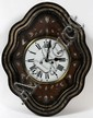 FRENCH EBONY AND MOTHER OF PEARL WALL CLOCK, CIRCA