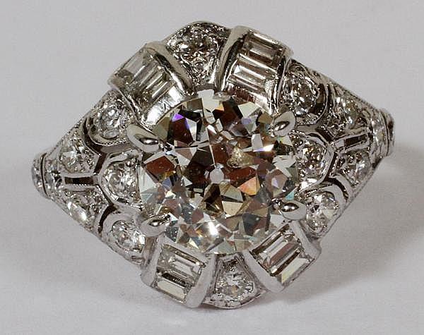 ART DECO 1.70 CT EUROPEAN CUT DIAMOND & PLATINUM RING, SIZE 4 1/2