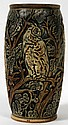 WELLER KNIFEWOOD POTTERY VASE WITH HOODED OWLS, EARLY 20TH C., H 8.5