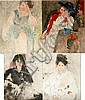 RICHARD JERZY, WATERCOLOR PAINTINGS, FOUR IN LOT,, Richard Jerzy, Click for value