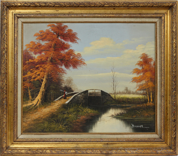 BRENNER OIL ON CANVAS LANDSCAPE WITH BRIDGE