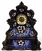 FRENCH BLUE PORCELAIN MANTLE CLOCK 19TH C H 20